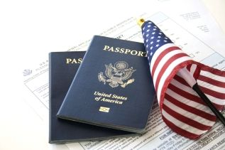 Passport and American Flag - Immigration